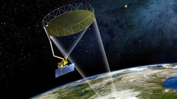 Artist's rendering of the SMAP instrument. Image credit: NASA