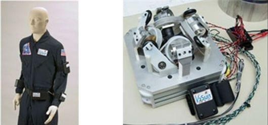 Left – V2Suit modules attached to a constant wear garment Right – V2Suit gyroscope/sensor module (Photo: Draper Laboratory)