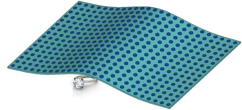 An extremely thin cloaking device is designed using dielectric materials. The cloak is a thin Teflon sheet (light blue) embedded with many small, cylindrical ceramic particles (dark blue). Credit: Li-Yi Hsu/UC San Diego.