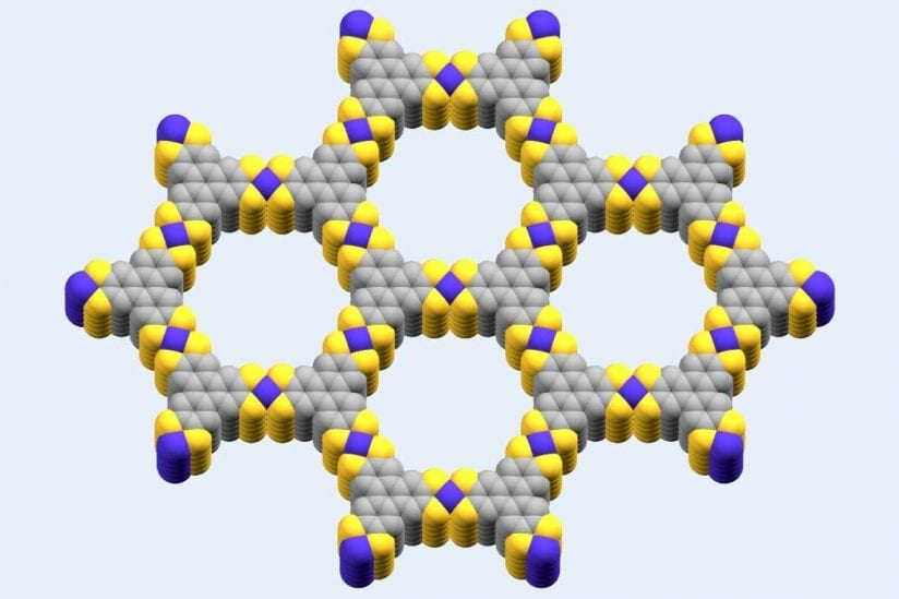 The cobalt-based metal-organic framework used by the USC scientists, with purple representing cobalt, yellow representing sulfur and gray representing carbon. (Image/Smaranda Marinescu)