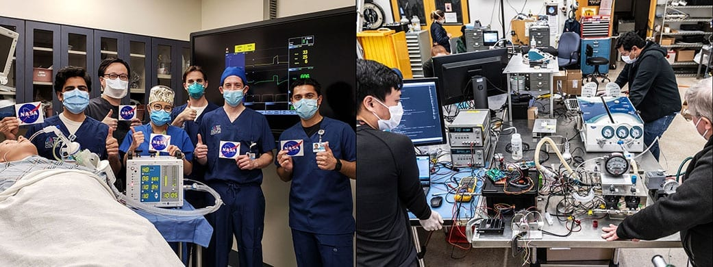 At left, doctors at the Icahn School of Medicine at Mount Sinai in New York City give a thumbs up after testing a ventilator prototype developed by NASA's Jet Propulsion Laboratory in Southern California. At right, JPL engineers are working on the ventilator prototype for coronavirus patients. Credits: Icahn School of Medicine at Mount Sinai, New York City and NASA/JPL-Caltech