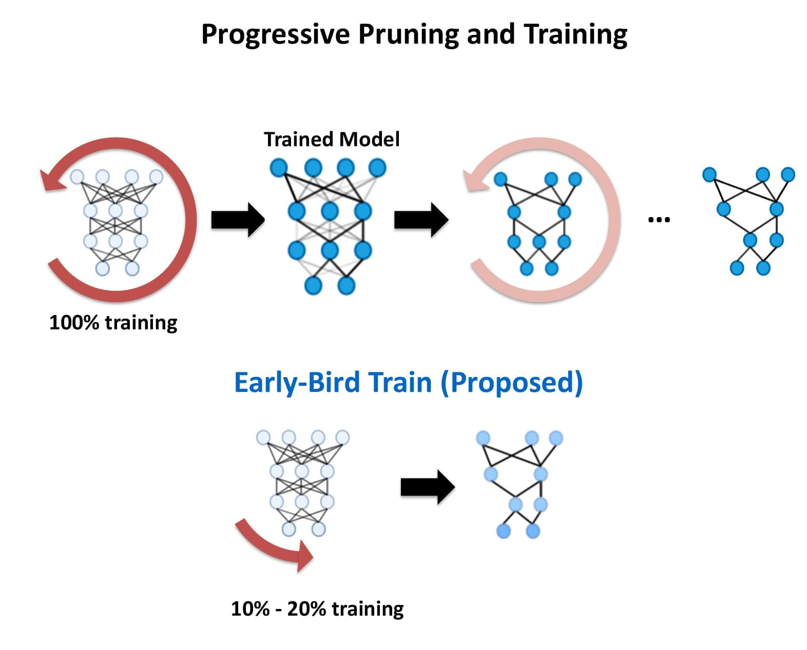 Rice University's Early Bird method for training deep neural networks finds key connectivity patterns early in training, reducing the computations and carbon footprint for the increasingly popular form of artificial intelligence known as deep learning. (Graphic courtesy of Y. Lin/Rice University)