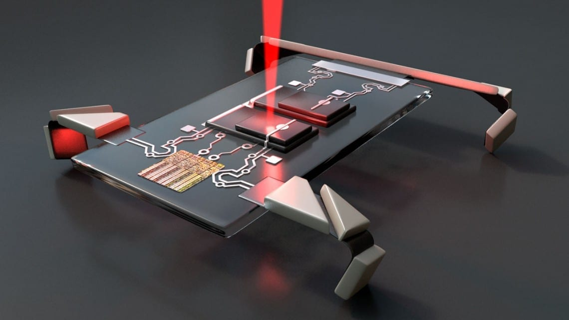 Researchers from Cornell and the University of Pennsylvania built microsopic robots that consist of a simple circuit made from silicon photovoltaics – essentially the torso and brain – and four electrochemical actuators that function as legs. When laser light is shined on the photovoltaics, the robots walk.