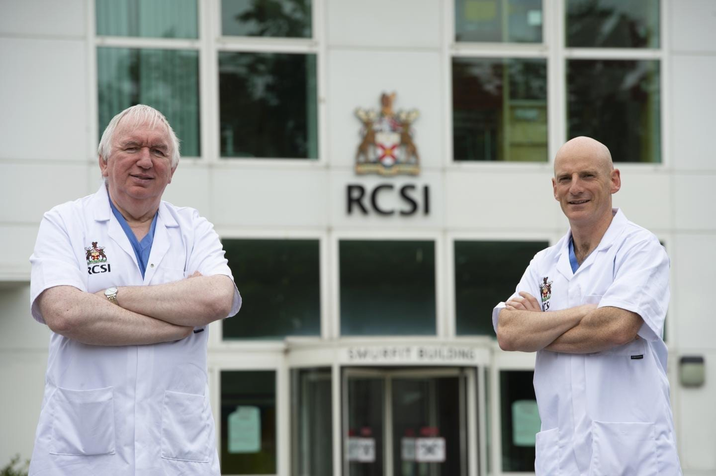 Professor Gerry McElvaney (left), the study's senior author and a consultant in Beaumont Hospital, and Professor Ger Curley (right) stand in front of the RCSI Education and Research Centre in Beaumont Hospital, Dublin. CREDIT Ray Lohan