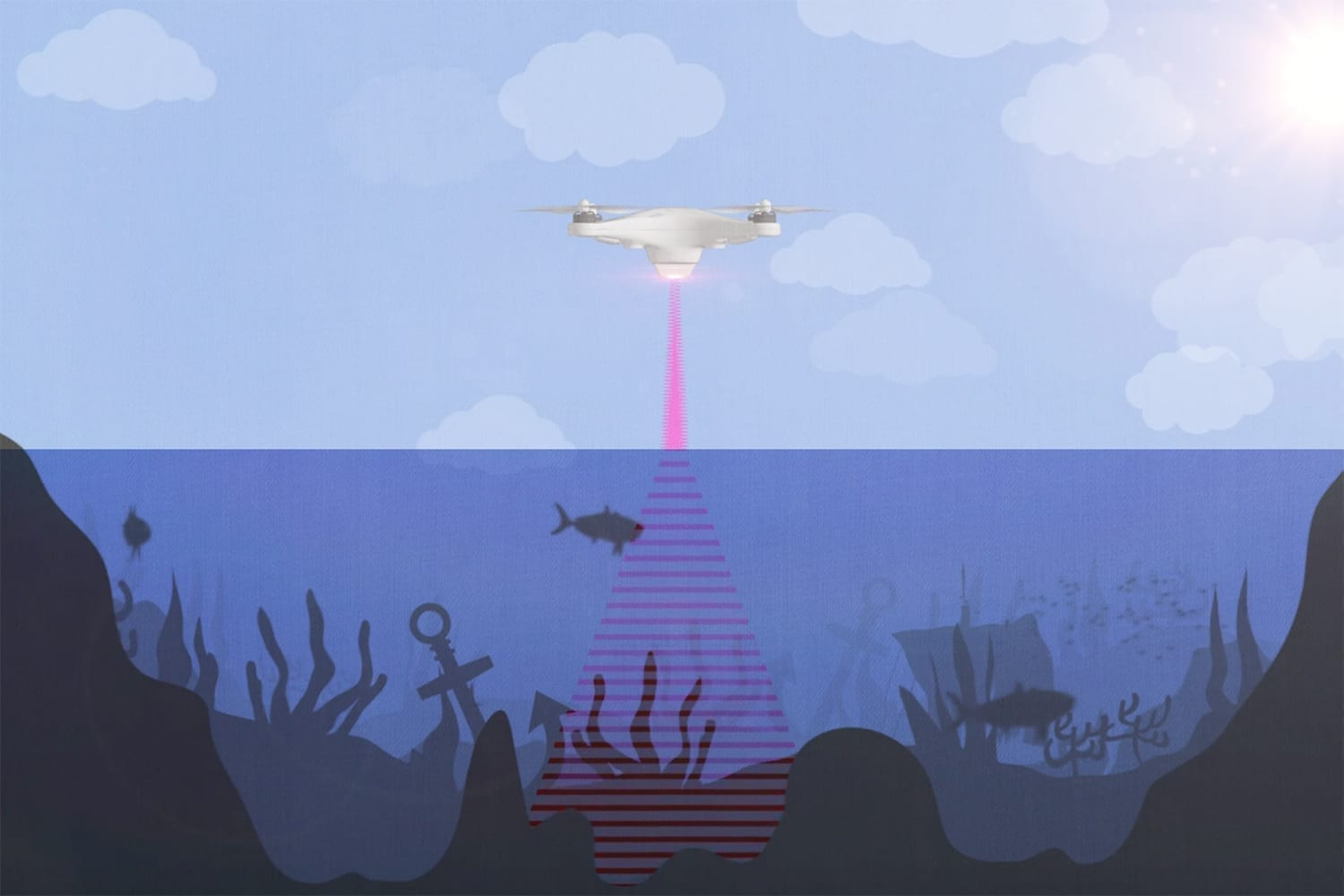 An artist rendition of the photoacoustic airborne sonar system operating from a drone to sense and image underwater objects. (Image credit: Kindea Labs)