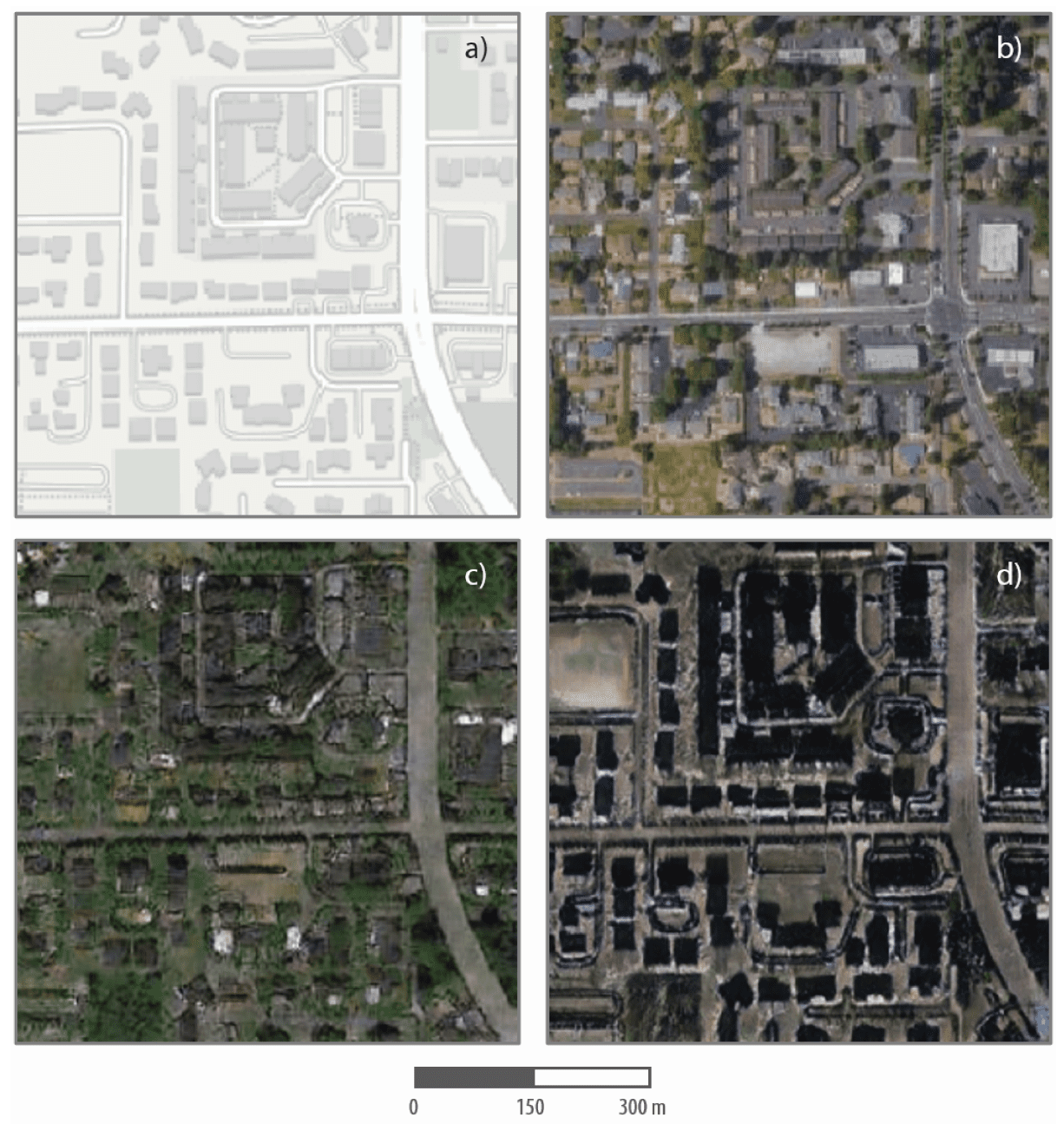 These are maps and satellite images, real and fake, of one Tacoma neighborhood. The top left shows an image from mapping software, and the top right is an actual satellite image of the neighborhood. The bottom two panels are simulated satellite images of the neighborhood, generated from geospatial data of Seattle (lower left) and Beijing (lower right).Zhao et al., 2021, Cartography and Geographic Information Science