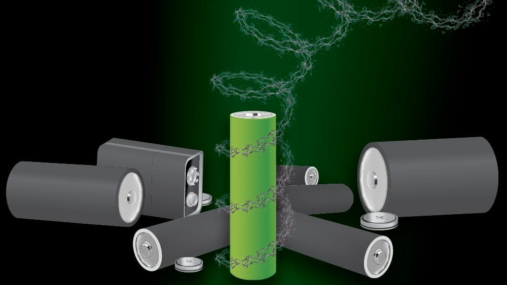 Graphic representation of metal-free, recyclable polypeptide battery | Image: Texas A&M Engineering