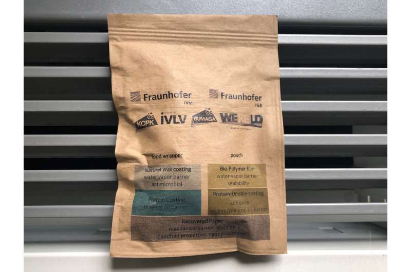 Fig. 1: A resealable bag made of paper with the coating on the inside. After use, the packaging is placed in the waste paper recycling bin with the bioactive materials. Credit: Fraunhofer