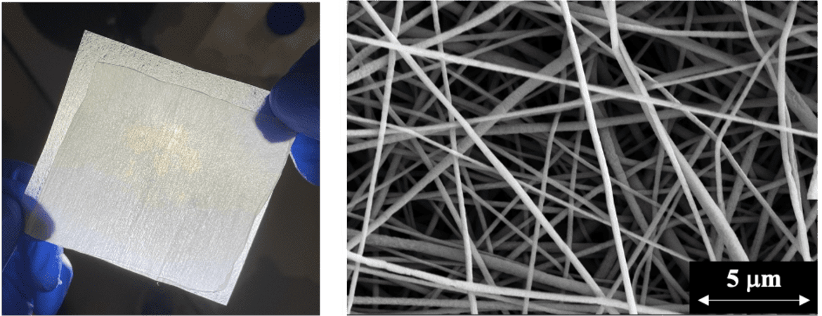 Left: A nanofiber filter that captures 99.9% of coronavirus aerosols; Right: A highly magnified image of the polymer nanofibers. (Photo: Yun Shen)