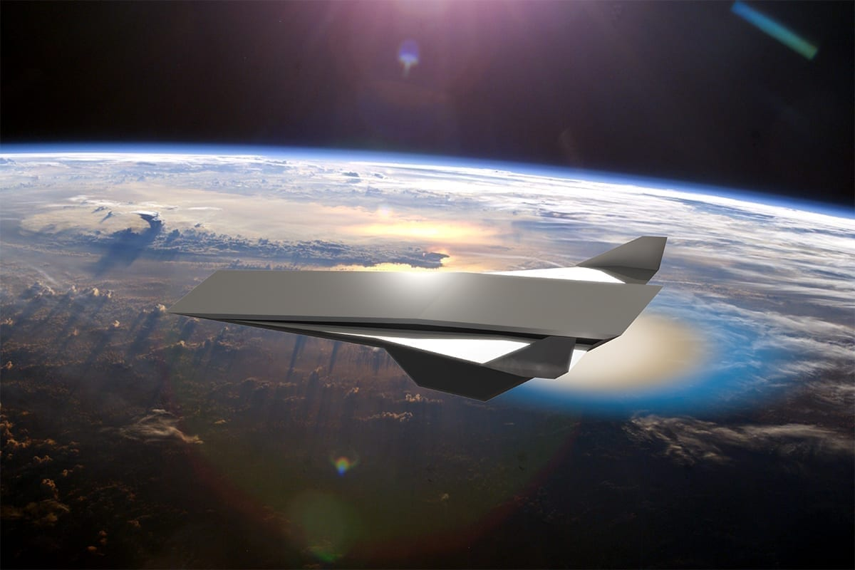 A conceptual hypersonic aircraft, powered by an oblique detonation wave engine, is pictured. Background image credit: NASA. Aircraft and composite image credit: Daniel Rosato, UCF.