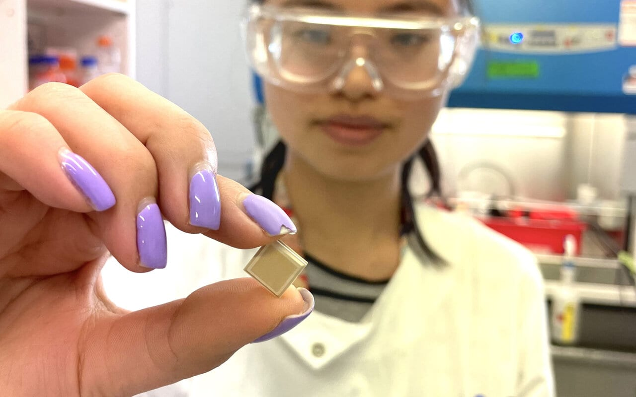 UQ PhD candidate Jovin Choo holding a high-density microarray patch, which could help vaccinate for dengue in a single click.