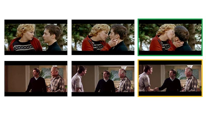 """The AI model recognizes when the future is uncertain and is capable of """"hedging the bet,"""" the way a person would, accordingly. For instance, when the model finds it impossible to predict whether two people are going to hug or handshake, it predicts they are going to greet each other instead. Stills from The Cider House Rules (top) and Mumford (bottom)"""