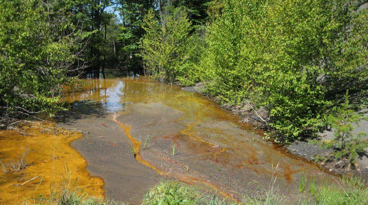 A new sensor could allow researchers to detect the rare earth element terbium from complex environmental samples, such as acid mine drainage — pictured here polluting a Pennsylvania stream. IMAGE: RACHEL A. BRENNAN, PENN STATE
