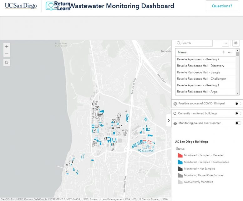 An online dashboard tracks COVID-positive wastewater detection on the UC San Diego campus and makes it available to the public. Credit: UC San Diego.