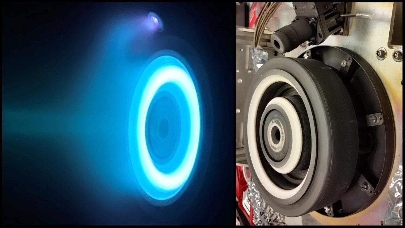 At left, xenon plasma emits a blue glow from an electric Hall thruster identical to those that will propel NASA's Psyche spacecraft to the main asteroid belt. On the right is a similar non-operating thruster. Credit: NASA/JPL-Caltech