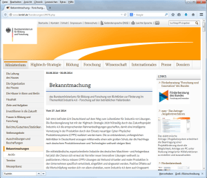BMBF-Ausschreibung Industrie 4.0