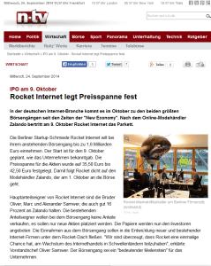 n-tv: Zalando und Rocket Internet gehen an die Börse