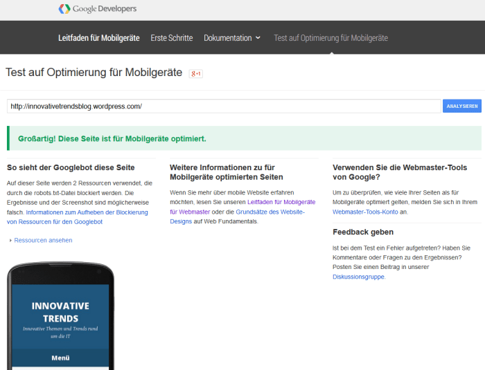 Google Mobile-Friendly: Webseiten auf Mobil-Opimierung testen