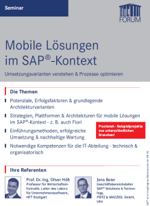 Mobile Lösungen im SAP-Kontext: Seminar am 2.7.2015 in Frankfurt