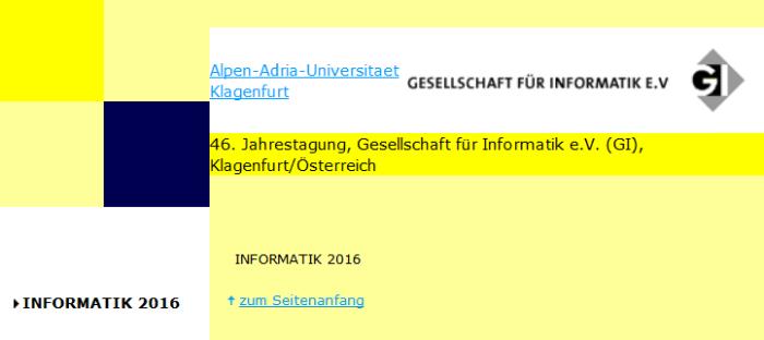 Informatik 2016 in Klagenfurt