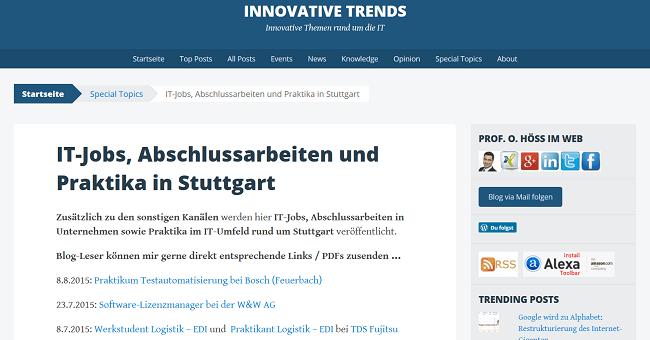 IT-Jobs, Abschlussarbeiten und Praktika rund um Stuttgart auf Innovative-Trends-Blog