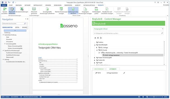 ReqSuite: Generiertes Anforderungsdokument in MS Word (links) und Projektstruktur (rechts)