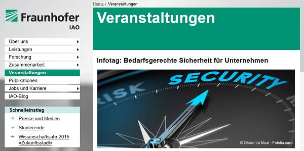 Fraunhofer IAO: Kostenloser Infotag Bedarfsgerechte Sicherheit für Unternehmen