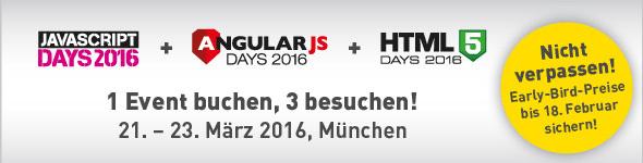 JavaScript-Days 2016, Angular.js-Days 2016 und HTML5-Days 2016 in München