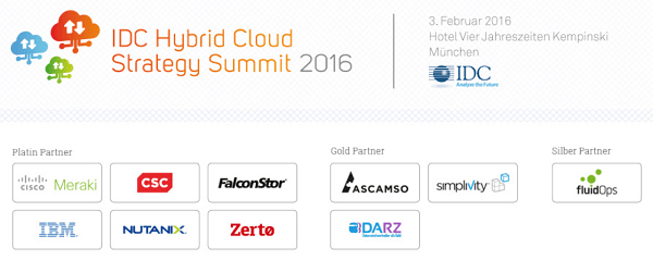 Hybrid Cloud Strategy Summit 2016 von IDC am 3. Februar in München