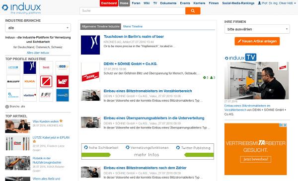 induxx - Startseite mit Industrie-News