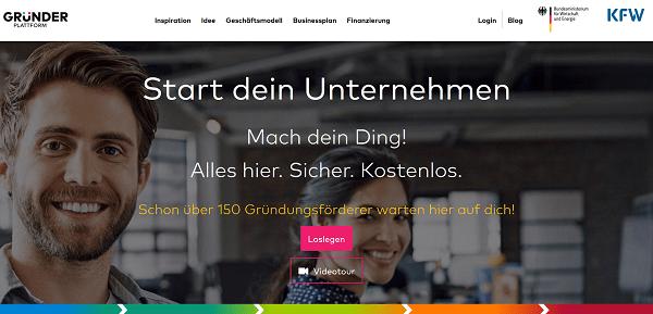 Gründerplattform - Screenshot