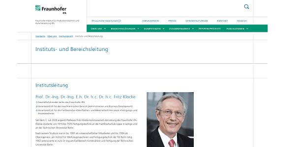 Fraunhofer IPA: Der renommierte Produktionsforscher Prof. Dr. Fritz Klocke verstärkt die Institutsleitung