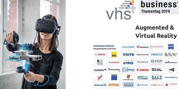 VR und AR beim vhs4business-Thementag 2019 am 20.3. in Esslingen - mit Top-Unternehmen