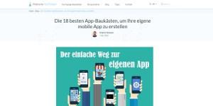 App-Baukästen (Screenshot Blog-beitrag bei Websitetooltester)