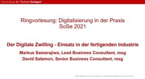 """Gastvortrag von msg zum Thema """"Digital Twin"""" an der HFT Stuttgart"""
