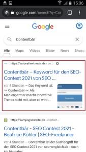 Contentbär SEO-Contest, 10.5.2021, 15:07.Mobile