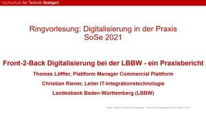 Gastvortrag LBBW an der HFT Stuttgart