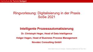 Gastvortrag von Novatec an der HFT Stuttgart