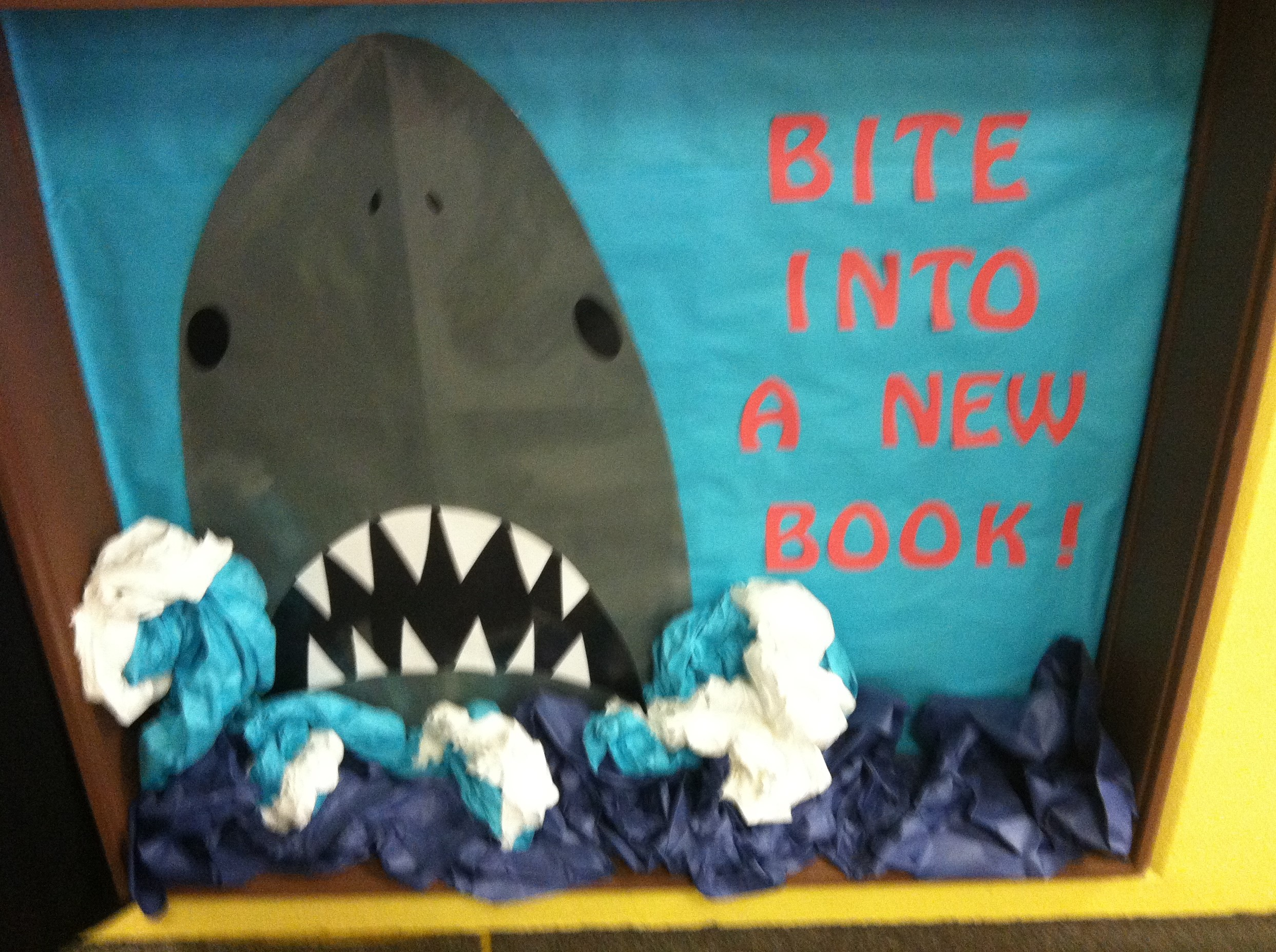This isn't difficult to create at all. The water and waves are blue, light blue, and white paper that has been crumpled together. In fact, you can even use old paper from previous projects to create these looks. The three dimensions of the water really make it pop out. Students and teachers will appreciate the work you did to make such a wonderful bulletin board.
