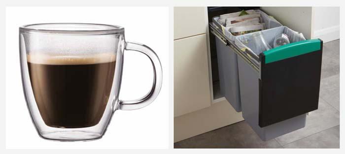 Tasse cafe bodum et poubelle tri selectif