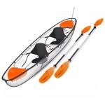 La coque de ce kayak est transparente et permet d'observer le fond de l'eau.