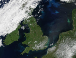 MODIS - Bright turquoise swirls marked phytoplankton blooms in the North and Celtic Seas in mid-June 2017.