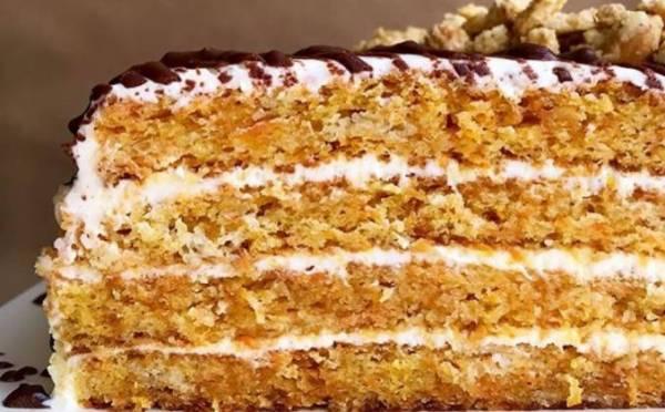 Морковный торт со сметанным кремом рецепт с фото пошагово