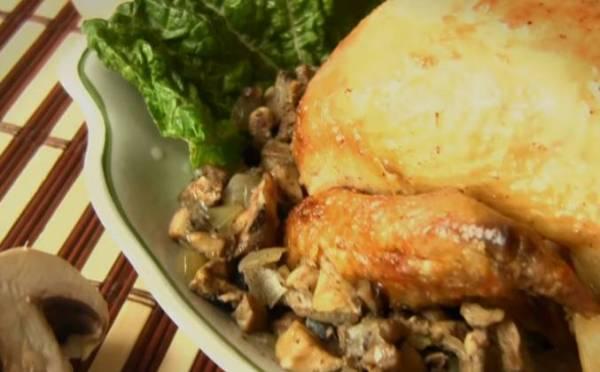 Курица с грибами в рукаве в духовке рецепт с фото пошагово