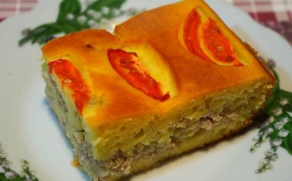 Заливной пирог на кефире с фаршем рецепт с фото пошагово