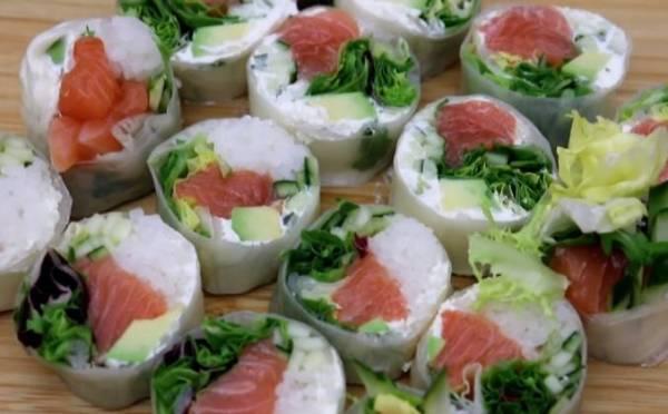 Вьетнамские роллы из рисовой бумаги с лососем рецепт с ...