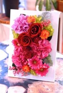 広島市へ結婚祝いプリザーブドフラワーのお届けです