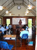 Inside one of the school rooms at Yap Catholic High School (Yap). Each of the four classrooms is housed in its own free-standing building.
