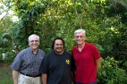 Fr. Ciancimino with Fr. Wayne Tkel, SJ, religion teacher at a local school, and Fr. Greg Muckenhaupt, SJ, director of schools for the diocese of the Caroline Islands.
