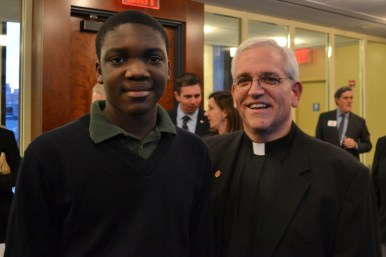 Fr. David Ciancimino, SJ, Provincial of The New York Province with a BJP student.